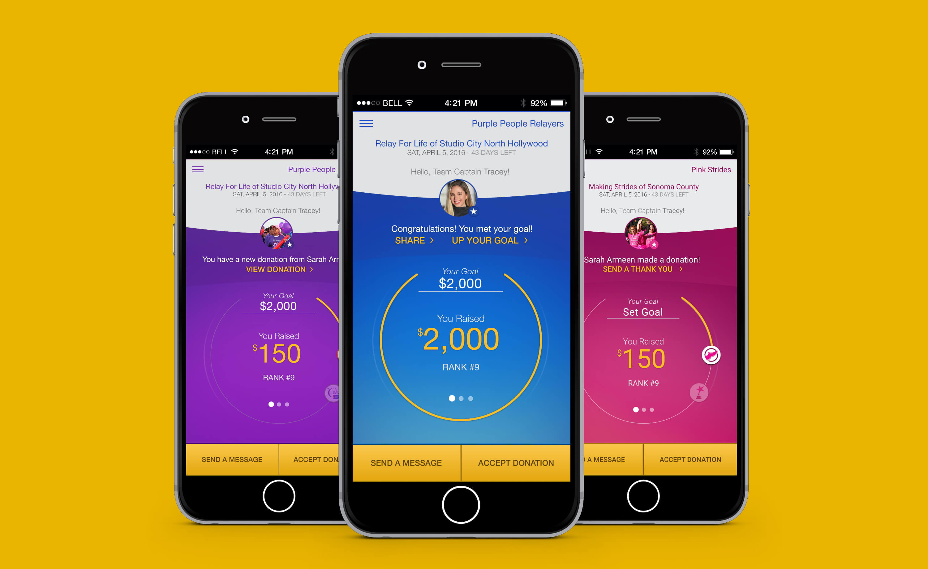 Hero image - screenshot of American Cancer Society FUNdraising App