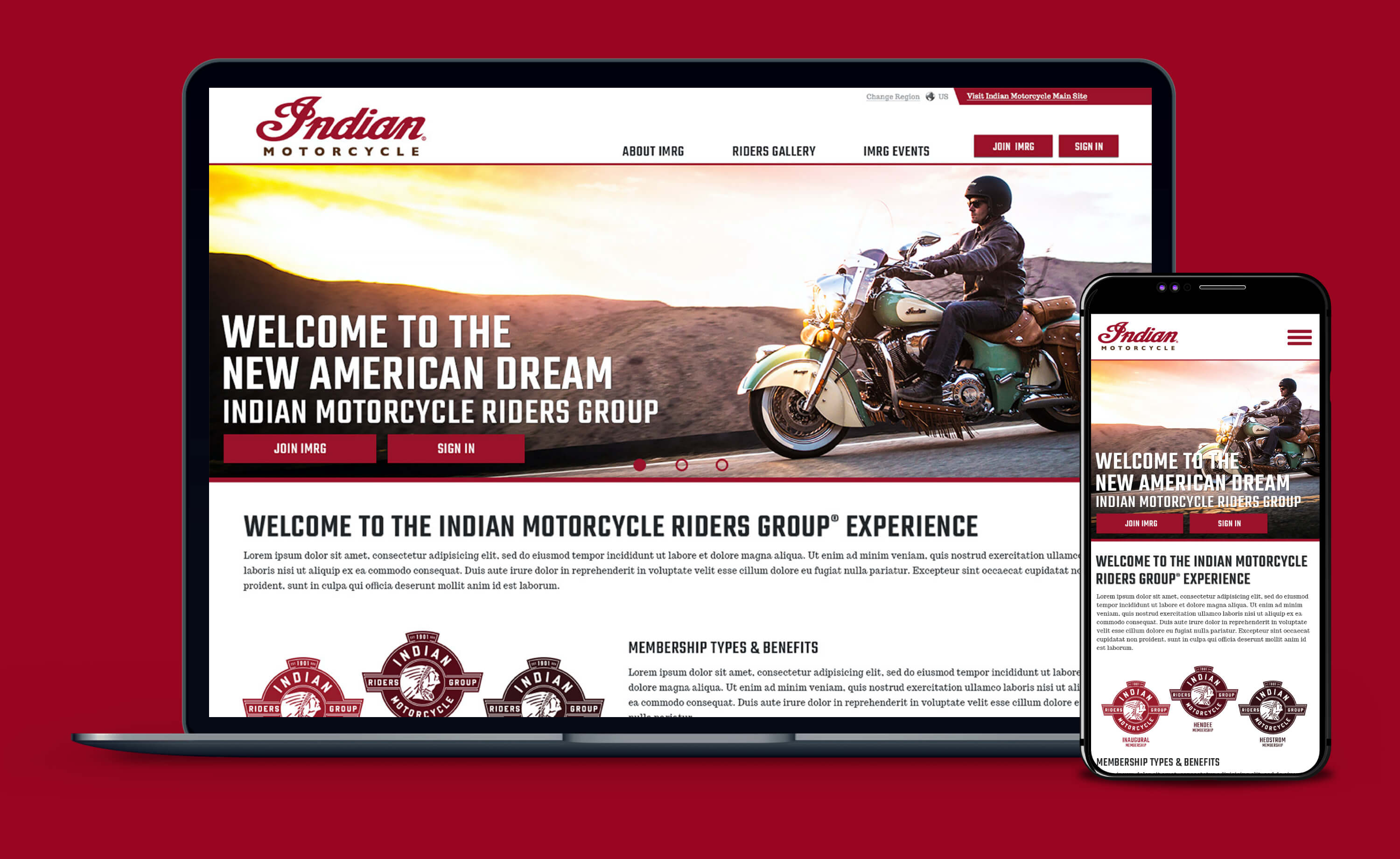 Hero image - screenshot of Indian Motorcycle Riders Group homepage in desktop and mobile application